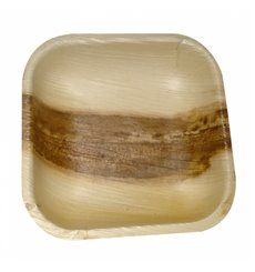 Mini Piatti Quadrati in Foglia di Palma 11,5x11,5x1,5cm (25 Pezzi)
