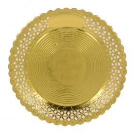 Piatto di Carta Tondo Centrino Oro 25 cm (50 Pezzi)