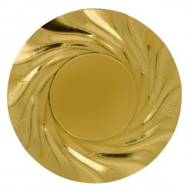 Piatto di Carta Tondo Oro Acuario 350 mm (25 Pezzi)