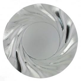 Piatto di Carta Tondo Argento Acuario 350 mm (25 Pezzi)