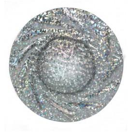 Piatto di Carta Tondo Argento Gaudi Acuario 350 mm (25 Pezzi)