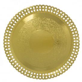 Piatto di Carta Tondo Centrino Oro 230 mm (50 Pezzi)