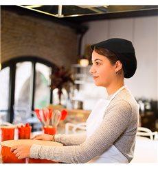Cappello Cuoca Retina e Visiera Cotone Nero (25 Pezzi)