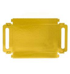 Vassoio Cartone Rettangolo Oro Manici 32x7,5 cm (100 Pezzi)
