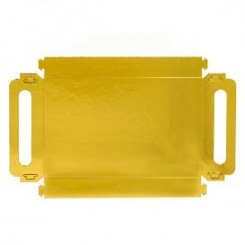 Vassoio Cartone Rettangolo Oro Manici 30x12 cm (100 Pezzi)