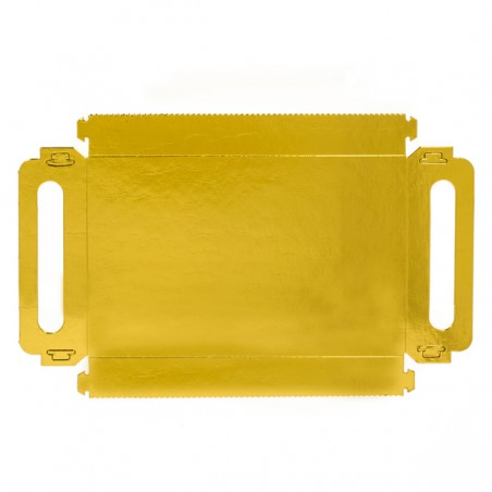 VassoioCartone Rettangolo Oro Manici 16x23 cm (100 Pezzi)