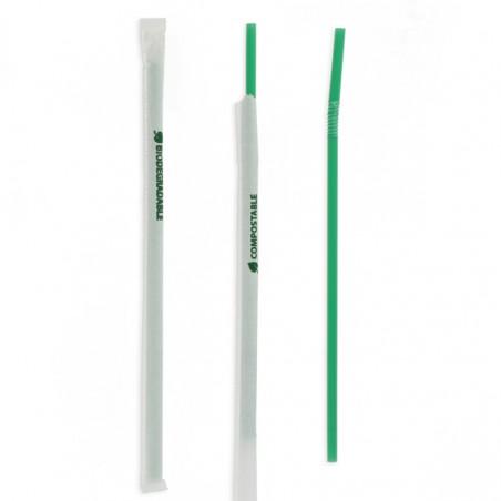 Cannuccia Flessible Insaccato PLA Verde Ø6mm 24cm (4800 Pezzi)