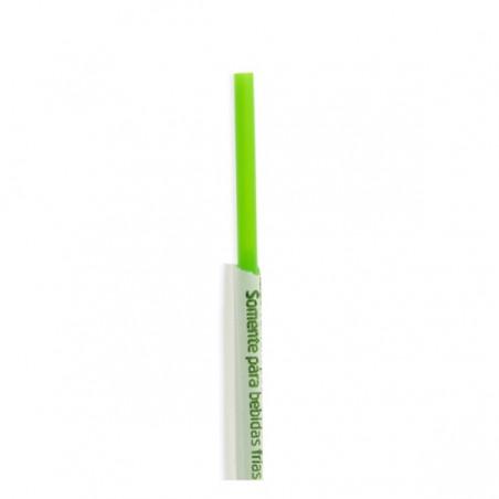 Cannuccia Dritta Insaccato di PLA Verde Ø6mm 20cm (250 Pezzi)