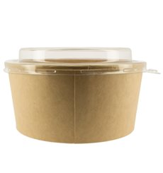 Contenitori di Carta Kraft Con Coperchio PET 25 Oz/750 ml (300 Pezzi)