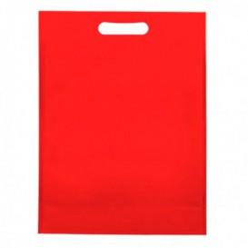 Sacchetto TNT Manico Fustellato Rosso 30+10x40cm (25 Pezzi)