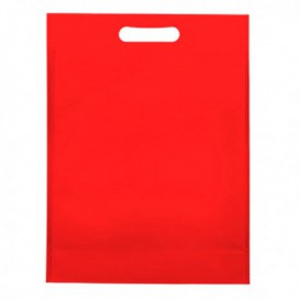 Sacchetto TNT Manico Fustellato Rosso 30+10x40cm (200 Pezzi)