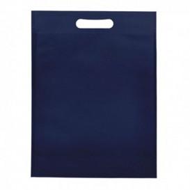 Sacchetto TNT Manico Fustellato Blu 30+10x40cm (25 Pezzi)
