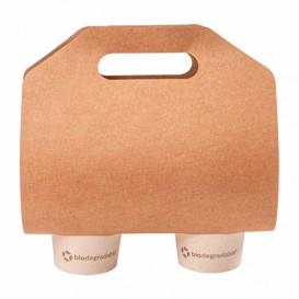 Porta Bicchiere di Carta Kraft 46,5x22,5cm Ø6,7cm (100 Pezzi)