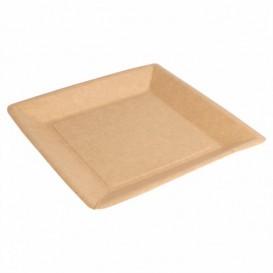 Piatto di Carta Biocoated Naturale Quadrato 23cm (20 Pezzi)