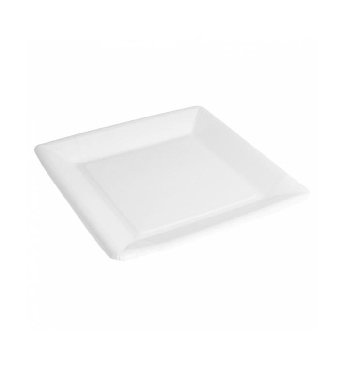 Piatto di Carta Biocoated Bianco Quadrato 23cm (20 Pezzi)