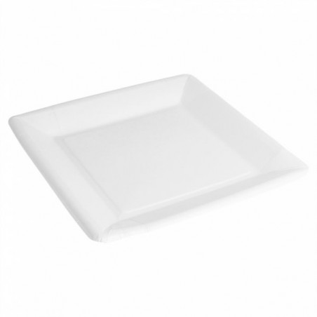 Piatto di Carta Biocoated Bianco Quadrato 23cm (400 Pezzi)