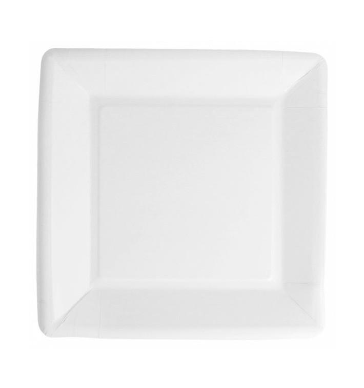 Piatto di Carta Biocoated Bianco Quadrato 18cm (20 Pezzi)