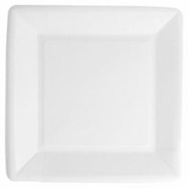 Piatto di Carta Biocoated Bianco Quadrato 18cm (400 Pezzi)