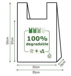 Sacchetto di Plastica Canottiera 100% Biodegradabile 35x50cm (100 Pezzi)