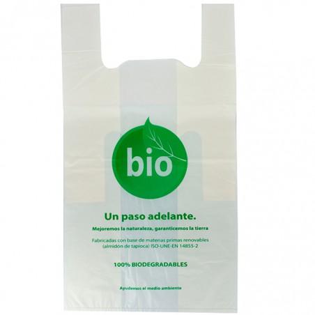 Sacchetto di Plastica Canottiera 100% Biodegradabile 55x60cm (100 Pezzi)
