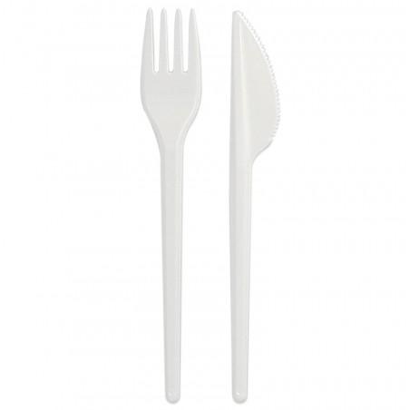 Set Posate di Plastica Forchetta e Coltello Bianco (25 Pezzi)