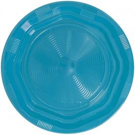 Piatto Fondi Plastica Tondo Rigida Ottogonale Azzurro Ø220 mm (25 Pezzi)