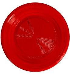 Piatto Amidon Mais PLA Piani Rosso Ø220 mm (25 Pezzi)