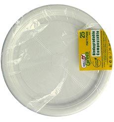 Piatto di Amido Mais PLA Piani Bianco Ø220 mm (375 Pezzi)