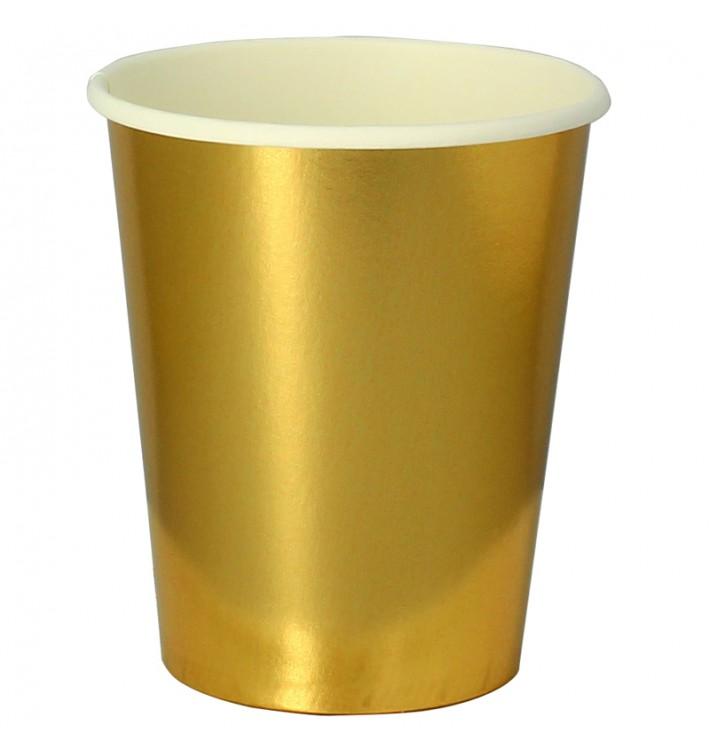 """Bicchiere di Carta 9Oz/240ml Oro """"Party"""" (10 Pezzi)"""