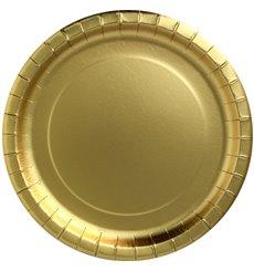 """Piatto di Carta Tondo """"Party Shiny"""" Oro Ø180mm (10 Pezzi)"""