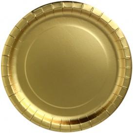"""Piatto di Carta Tondo """"Party Shiny"""" Oro Ø230mm (10 Pezzi)"""