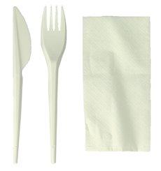 Set Posate Forchetta, Coltello e Tovagliolo Amido Mais PLA (100 Pezzi)