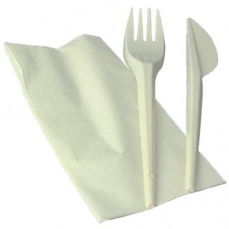 Set Posate Forchetta, Coltello e Tovagliolo Amido Mais PLA (250 Pezzi)