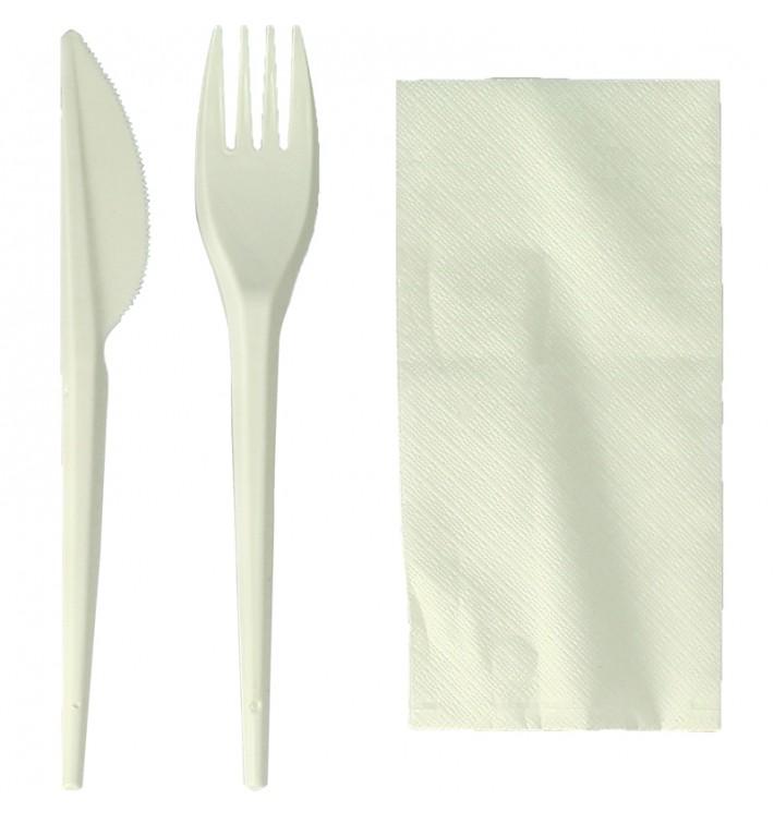 Set Posate Forchetta, Coltello e Tovagliolo Amido Mais PLA (300 Pezzi)