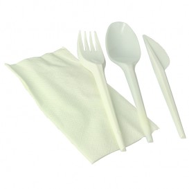 Set Posate Forchetta, Cucchiaio, Coltello e Tovagliolo Amido Mais PLA (100 Pezzi)
