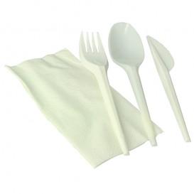 Set Posate Forchetta, Cucchiaio, Coltello e Tovagliolo Amido Mais PLA (300 Pezzi)
