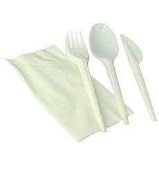 Set Posate Forchetta, Cucchiaio, Coltello e Tovagliolo Amido Mais PLA (250 Pezzi)