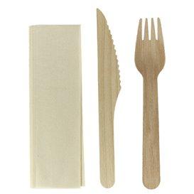 Set Posate Legno Forchetta, Coltello e Cucchiaio (100 Pezzi)