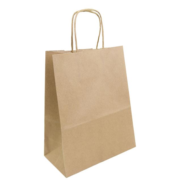 Buste Shopper in Carta Marrone 100g 22+11x27cm (25 Pezzi)