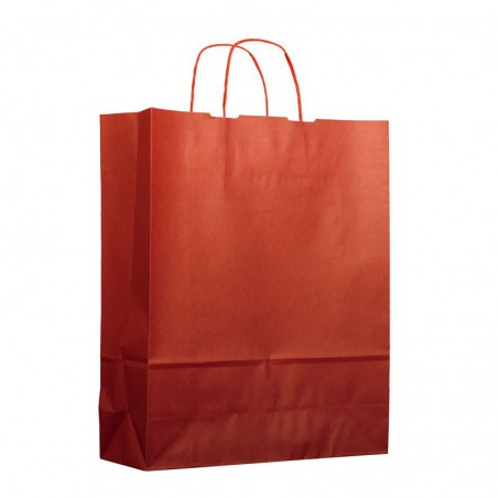 Buste Shopper in Carta Rosso 80g 26+14x32 cm (50 Pezzi)