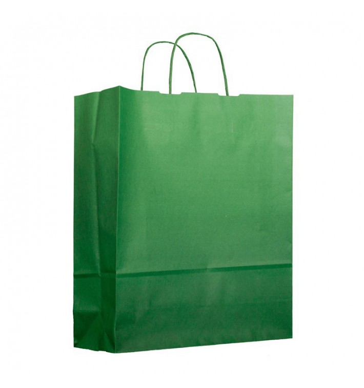 Buste Shopper in Carta Verde 100g 25+11x31cm (200 Pezzi)