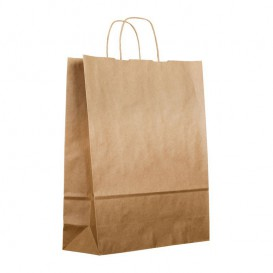 Buste Shopper in Carta Marrone 100g 25+13x33 cm (200 Pezzi)