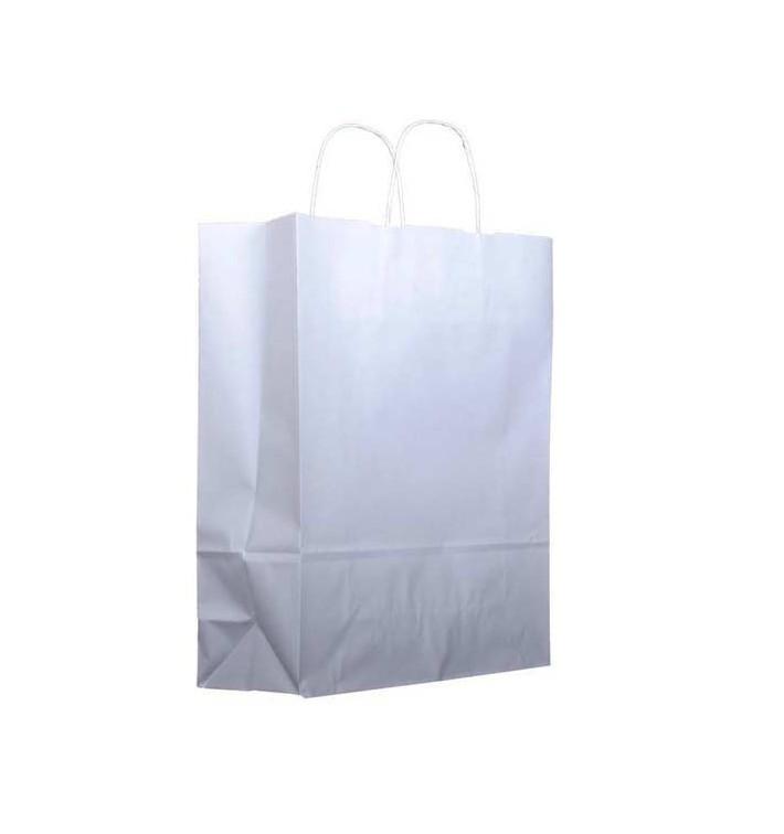 Buste Shopper in Carta Bianca 100g 25+11x31cm (25 Pezzi)