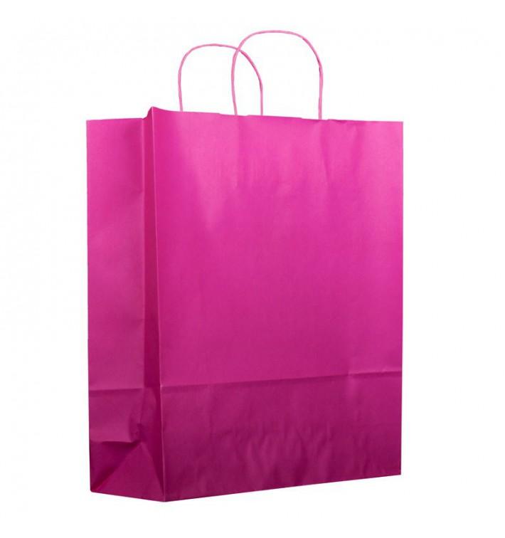 Buste Shopper in Carta Fucsia 100g 25+11x31 cm (25 Pezzi)