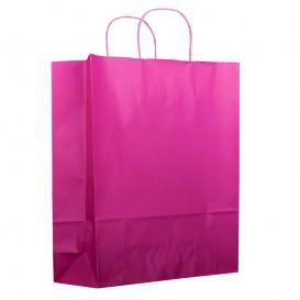 Buste Shopper in Carta Fucsia 100g 25+11x31 cm (200 Pezzi)