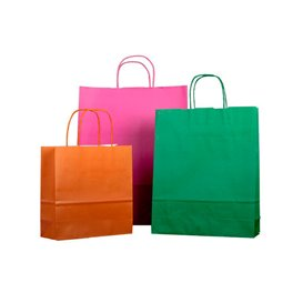 Buste Shopper in Carta Arancione 100g 25+11x31cm (25 Pezzi)