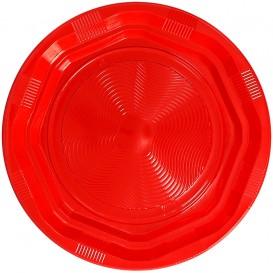 Piatto Piani Plastica Tondo Rigida Ottogonale Rosso Ø22cm (25 Pezzi)