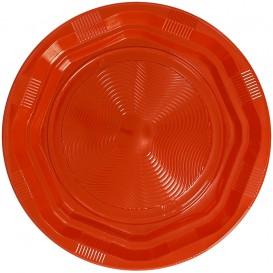 Piatto Plastica Tondo Rigida Ottogonale Arancione Ø220 mm (25 Pezzi)