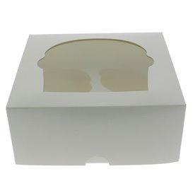 Scatola 4 Cupcakes con Inserto 17,3x16,5x7,5cm Bianco (20 Pezzi)