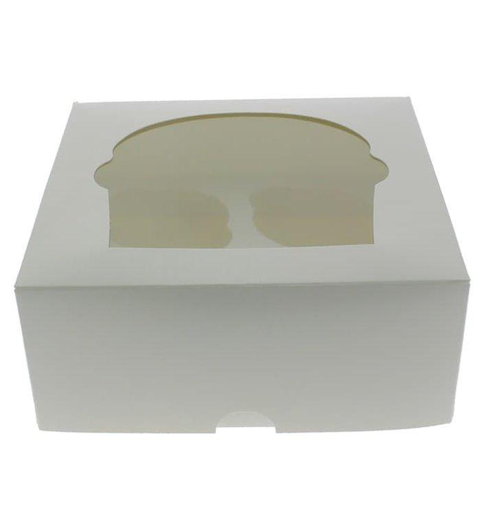 Scatola 4 Cupcakes con Inserto 17,3x16,5x7,5cm Bianco (140 Pezzi)